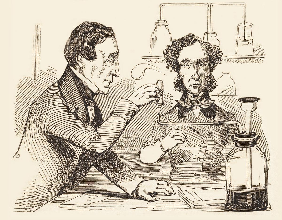 Dos médicos forenses británicos durante un análisis químico a mediados del siglo XIX