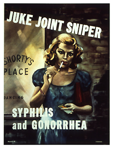 Multicolor poster with white lettering, depicting a woman standing outside a bar or dance hall. The woman has blond hair and wears a short-sleeved steel blue dress, pink bracelet, and blue ring. She has a dark red purse tucked between her arm and body, freeing up her hands to hold matches and light the cigarette dangling from her mouth. Her attractive features are hardened by her eyebrows coming together, as in anger, and a slight snarl on her lips. Initial title words at top of poster, remainder overlap woman's midsection. Artist's name in lower right corner. VDgraphic-25 appears in lower left corner.