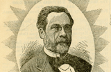 Head and shoulders drawing of Louis Pasteur surrounded by a starburst pattern