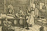 Illustration of a busy kitchen scene