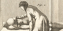 Drawing of woman attending to a body