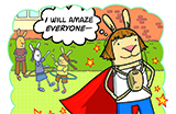 Illustration of anthropomorphized superhero bunny