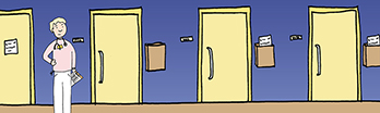 Illustration of a white woman standing in a hallway of doors