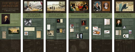 Six panels with pictures of George Washington