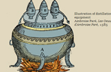 Drawing of a cauldron with fire underneath