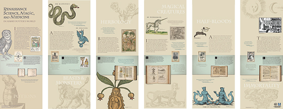 Six panels with images of mythical creatures