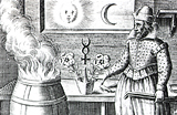 Drawing of a man next to a fiery cauldron