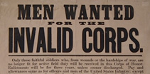 Newspaper front page reading: Men Wanted for the Invalid Corps.