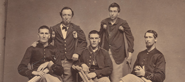 Five Civil War-era amputees gathered for a photograph