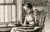 Drawing of a woman writing on a notepad next to a window