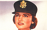 White female army nurse in uniform and cap, visible from chest up.