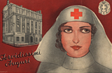 A White female Red Cross nurse, visible from the head up, in front of a picture of a hospital.