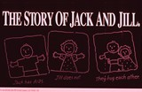 A poster titled The Story of Jack and Jill depicting two people meeting and having a baby.