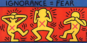 Two illustrated yellow figures in motion against a red background. Text reads 'Ignorance'