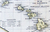 The Hawaiian Islands, as seen from a map