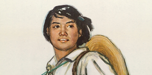 Drawing of woman with white blouse and straw hat