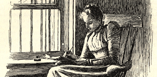 Drawing of a woman writing on a notepad by the window