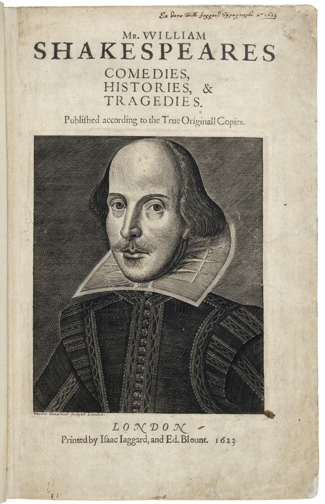 Title page of plays by Shakespeare, with his image, printed in 1633