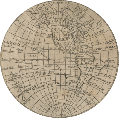 Oval map of the world detailing the American hemisphere from the north pole to the south pole.