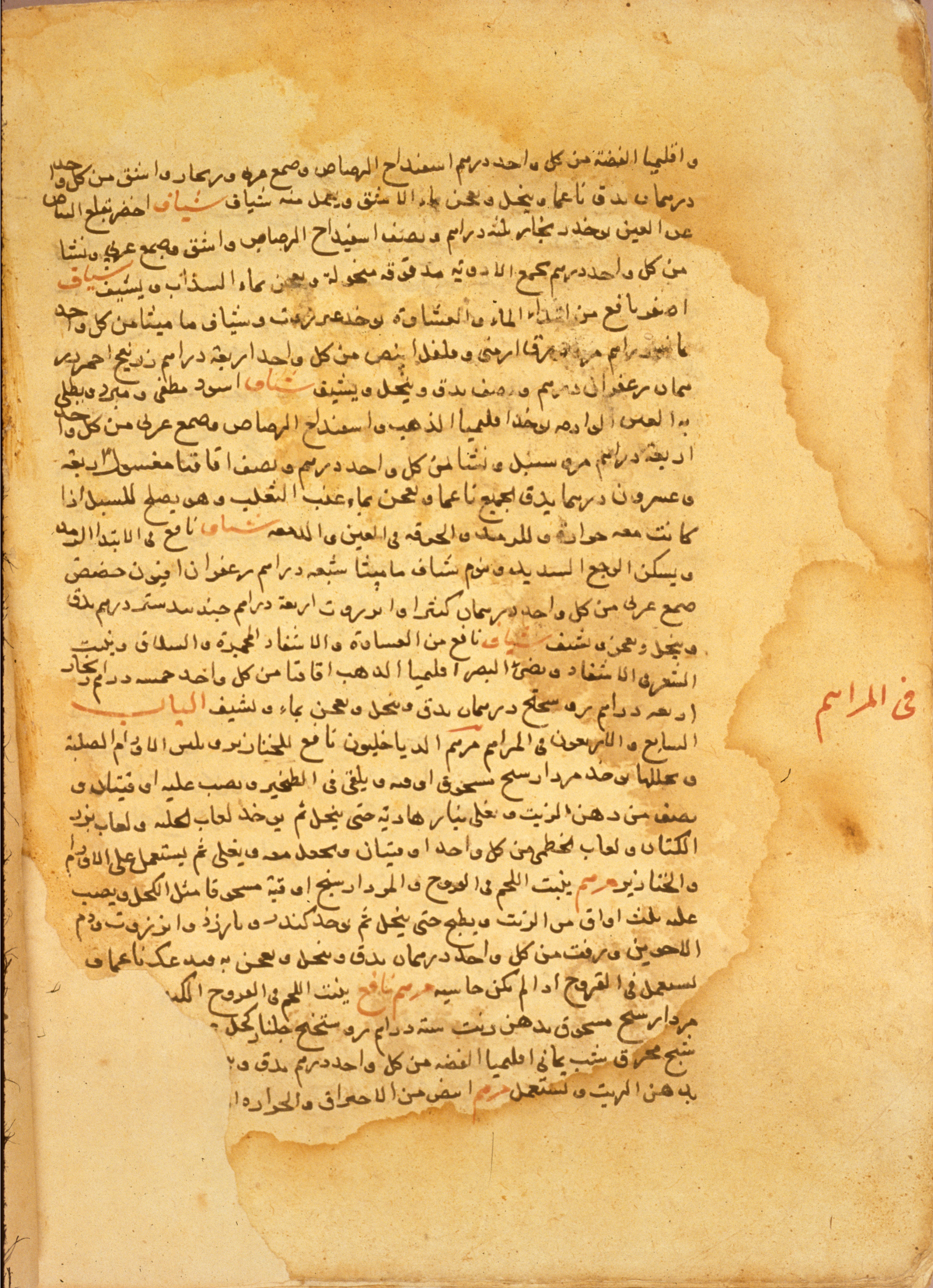 islamic medical manuscripts catalogue encycolopedias  ms a 18 fol 216b