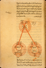 Folio 50a from Ibn al-Nafīs's  Kitāb al-Mūjiz  (The Concise Book) featuring a diagram of the eye and visual system . The highly-glossed, brown, thin paper has wavy vertical laid lines. The text is written in a medium-small, elegant, professional naskh script. The text area is frame-ruled. Black ink with headings in red; there are also black overlinings highlighted with red.