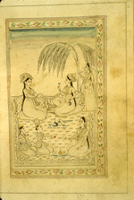 A full-page miniature drawing in black ink with gilt and blue and red accents. Two women are sitting in front of bolster pillows, talking and drinking and attended by four attendants.  From an anonymous and untitled collection of Persian love poetry. The gray-brown, semi-glossy paper has horizontal, sagging laid lines.