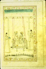 A full-page miniature drawing in black ink with gilt and blue and red accents.  A man and a woman sit on a swing, partially embracing while two female attendants stand on either side. From an anonymous and untitled collection of Persian love poetry. The gray-brown, semi-glossy paper has horizontal, sagging laid lines.