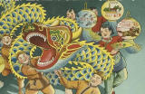Cropped poster illustration of Chinese dragon dance shows a dragon puppet being supported by three men dressed in brown outfits with head scarves while three dancers with lanterns dance along.