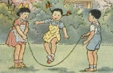 Cropped poster illustration shows three Chinese children outdoors playing together. Two are turning a jump rope while the third child is jumping the rope in the middle.