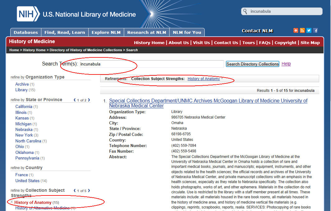 Directory of History of Medicine Collections Help