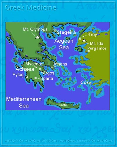 Greek medicine the ancient greek world map of the ancient greek world including the locations of the ancient cities of athens gumiabroncs Images