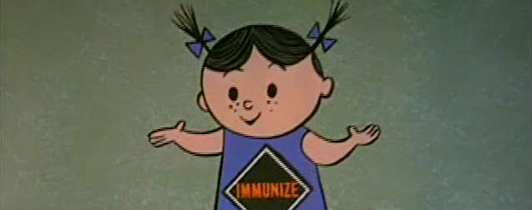 A still from an animated film featuring a girl with the word immunity on her shirt.