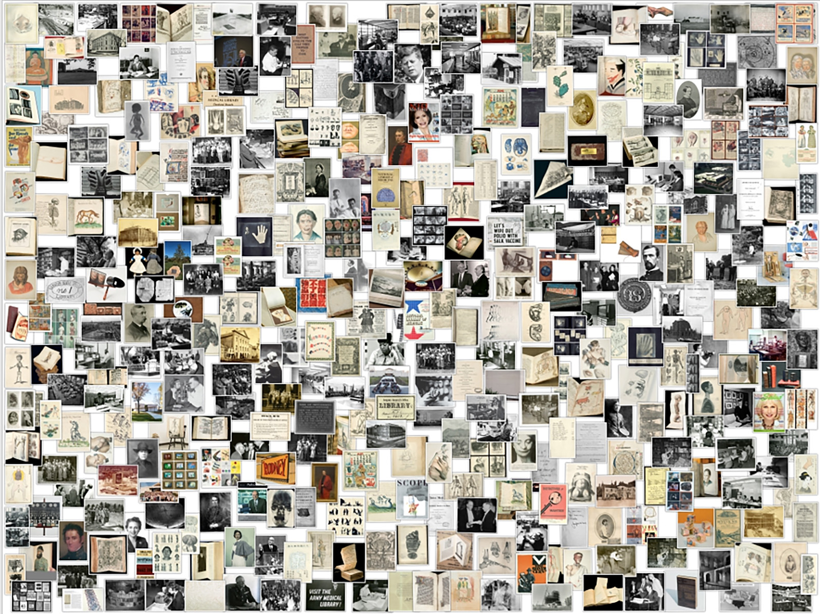 A collage showing the diversity of historical materials.