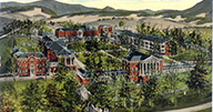 Illustrated postcard image of medical institute in the mountains.