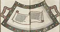 Book open to an illustration of a scroll.