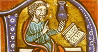 Detail of an illuminated letter featuring a man reading from a book.