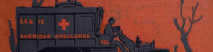 Detail of book cover featuring WW1 ambulance.