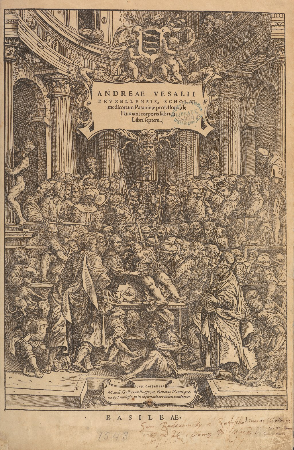Woodcut frontispiece showing Vesalius dissecting in a crowded operating theater.