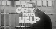 A cry for help film title over a man in prison.