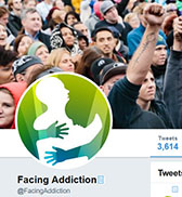 Capture of @FacingAddiction twitter page with logo and protest crowd.