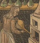 A colored woodcut of a woman using a bellows.