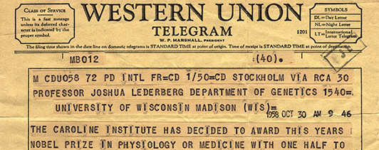 A Western Union Telegram from 1958 reporting a Nobel Prize in Medicine award.