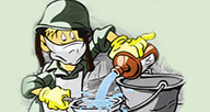 A cartoon solider engaged in cleaning.