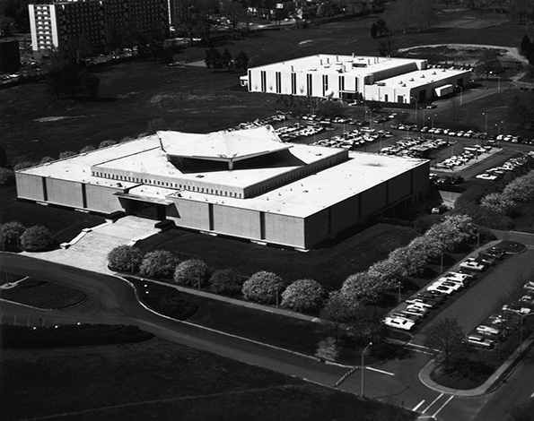 Photograph of an aerial view of the a library.