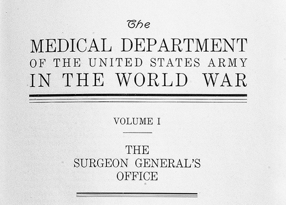 Front cover titled The Medical Department of the United States Army in the World War
