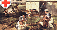 Red cross nurses treat a wounded soldier in a camp.