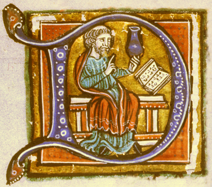 An illuminated letter D. Within the letter is a physician with a flask of urine, possibly comparing it to pictures or descriptions of variously colored urine in a book.
