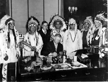 Signing of the first tribal constitution under the Wheeler Act