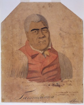 Color portrait-style painting of King Kamehameha wearing a red vest with a white undershirt.