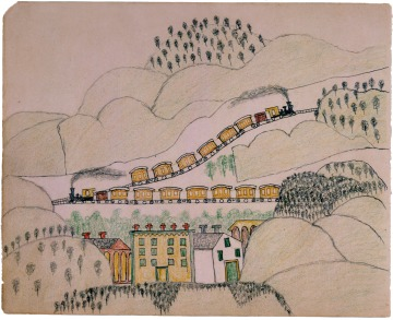 David Pendleton Oakerhater, ledger drawing of two trains